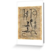 Vintage Medical Kits,Ear Instruments,Surgery Decoration,Dictionary Art,Zombie Apocalypse,Halloween,Card,Gift Greeting Card