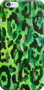 Leopard Print iPhone Case - Green by ubiquitoid