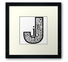 Big j, white background Framed Print