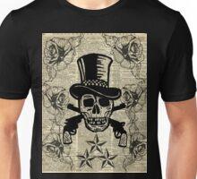Gunslinger,Happy Skull,Guns'n Roses,Rockstar Vintage Decoration Card,Craft Supplies,Dictionary Art, Unisex T-Shirt