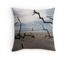 Beach Trees Morris Island Lighthouse Throw Pillow