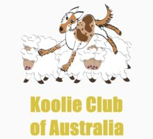 Red Merle Koolie backing sheep T Shirt yellow print by Koolie Club  of Australia