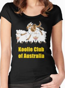 Red Merle Koolie backing sheep T Shirt yellow print Women's Fitted Scoop T-Shirt