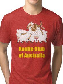 Red Merle Koolie backing sheep T Shirt yellow print Tri-blend T-Shirt