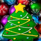 Christmas tree cookie with ornaments by Garry Gay