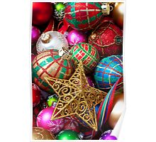 Box of Christmas ornaments with star Poster