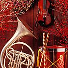 French horn Christmas still life by Garry Gay