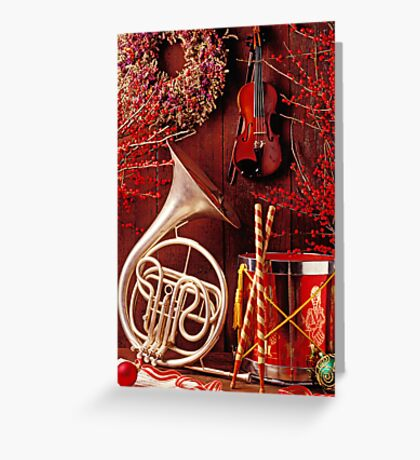 French horn Christmas still life Greeting Card