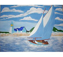 SAIL BOAT PAINTNG DONE WITH ACRYLIC PAINTS  Photographic Print