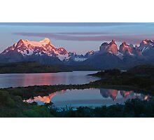 Patagonian Sunrise, Torres del Paine National Park, Chile Photographic Print