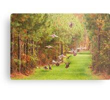 Turkeys In Flight Metal Print