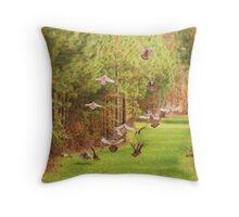 Turkeys In Flight Throw Pillow