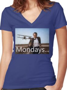 North By Northwest -Mondays Women's Fitted V-Neck T-Shirt