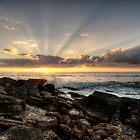 Bungan Beach Sunrise Sunrays by Jason Ruth