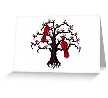 Red Birds in Love surreal black and red ink pen drawing Greeting Card