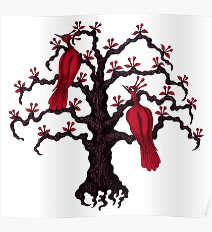 Red Birds in Love surreal black and red ink pen drawing Poster