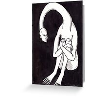 long necked seated figure Greeting Card