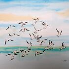 Gulls at Sea by Lesley Rowe