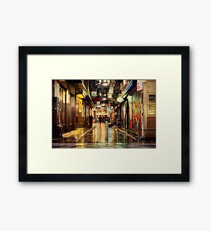 Wanker Lane, in the Rain Framed Print
