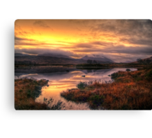 Golden Sunrise Over Loch Ba Canvas Print