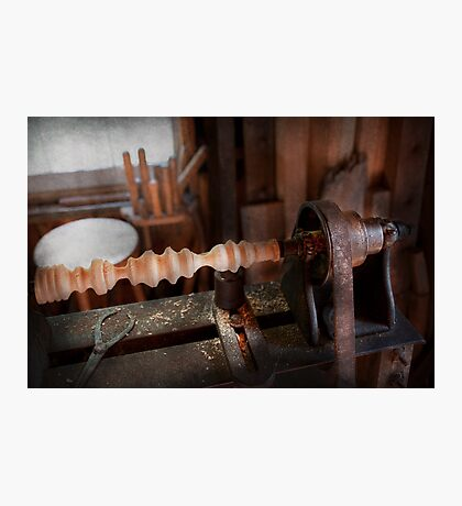 Woodworker - Lathe - Rough cut Photographic Print