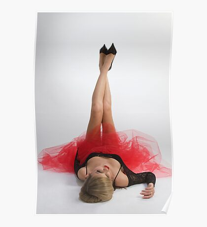 Beautiful girl in black and red Poster