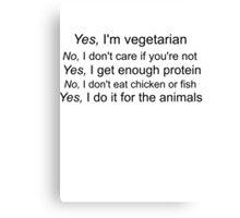 Vegetarian Text Canvas Print