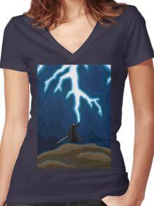 Lightening Man Women's Fitted V-Neck T-Shirt