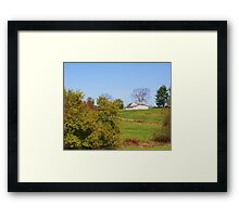 AN OLD INDIANA BARN IN A FIELD Framed Print