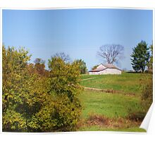 AN OLD INDIANA BARN IN A FIELD Poster