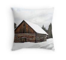 Pioneer Barn - Winter Throw Pillow
