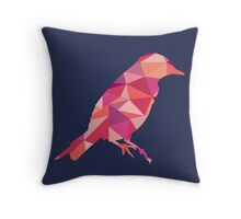 Geometric Bird - pink and orange Throw Pillow
