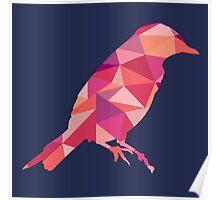 Geometric Bird - pink and orange Poster