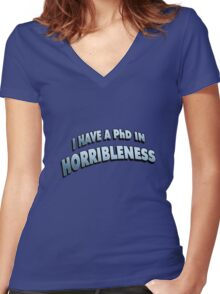 PHD in HORRIBLENESS Women's Fitted V-Neck T-Shirt