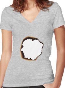Burnt Hole Women's Fitted V-Neck T-Shirt