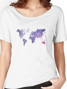 Purple Watercolor World Map Women's Relaxed Fit T-Shirt