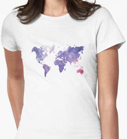 Purple Watercolor World Map Womens Fitted T-Shirt