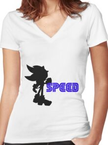 Speed Type: Shadow Women's Fitted V-Neck T-Shirt