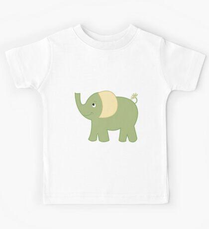 Green Elephant Cute Kids Cartoon Kids Tee