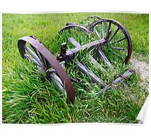Old Farm Equipment in Tall Grass Poster