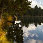 Serene Lake docked Canoe  by David Galson