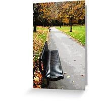 Fall park bench Greeting Card
