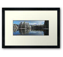 Serene Lake Panorama looking towards Castle Peak Framed Print