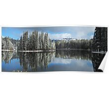 Serene Lake Panorama looking towards Castle Peak Poster