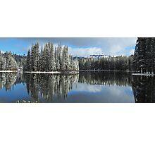 Serene Lake Panorama looking towards Castle Peak Photographic Print