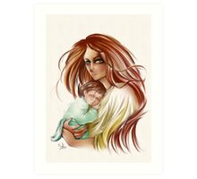 Woman with children Art Print