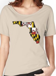 Florida outline Maryland flag Women's Relaxed Fit T-Shirt