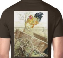 Rooster Perched on an Old Wagon Unisex T-Shirt