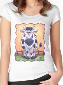 Animal Parade Cow Women's Fitted Scoop T-Shirt