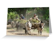 Bullock wagons, Burma Greeting Card